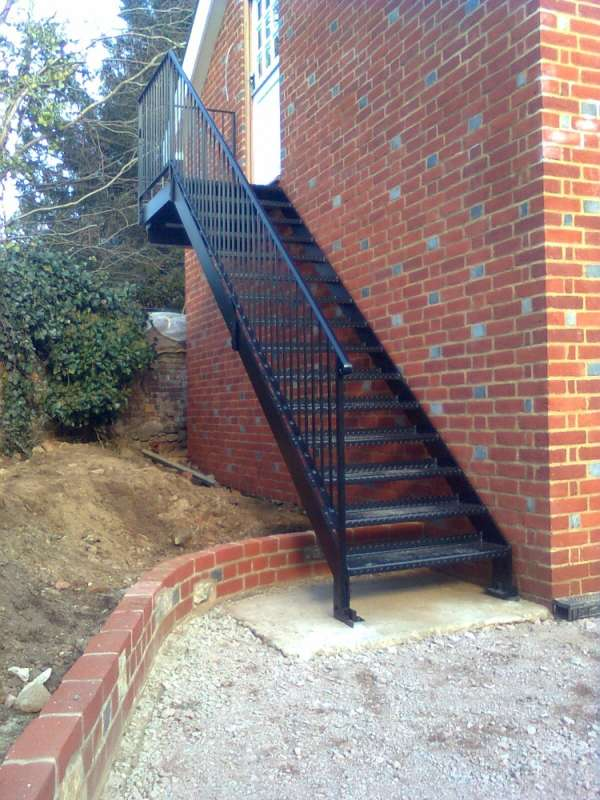 Powder coated fire escape