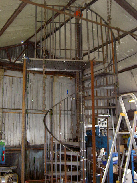Spiral staircase in construction