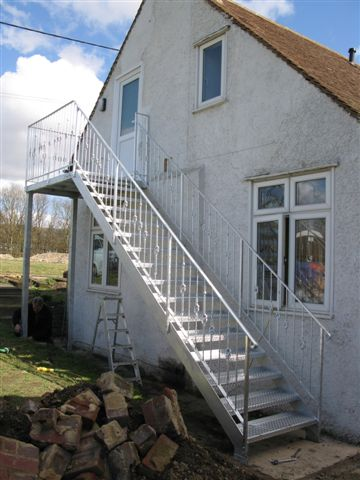 Galvanised external staircase for 1st floor flat